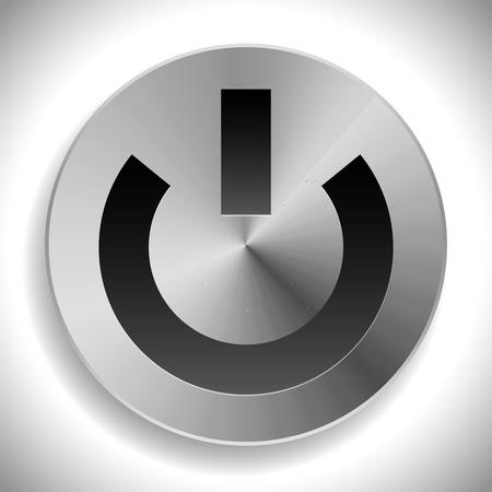 Metallic icon with power symbol, metallic power button. Illustration