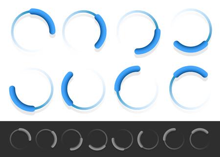 Pre-loader, buffer shapes, symbols, progress indicators set at different angles. Illustration