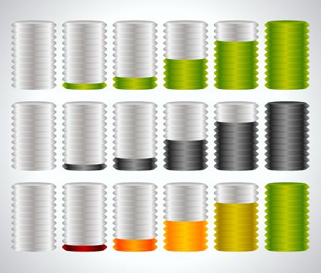 fullness: 3d cylinders. Level, completion, fullness, steps or progress indicators. Illustration