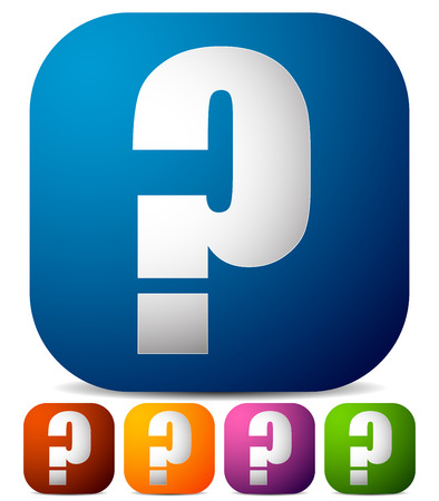 Icon with question mark in 5 color. Questions, support, quiz icon. Illustration