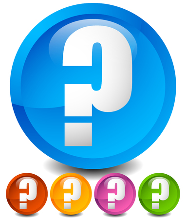 unsure: Icon with question mark in 5 color. Questions, support, quiz icon. Illustration