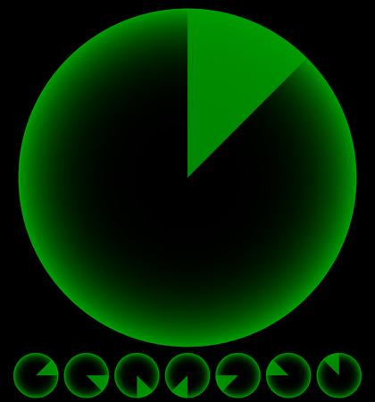 scaner: Rotating empty radar screen or sonar display. Segmented circles with thin slices.