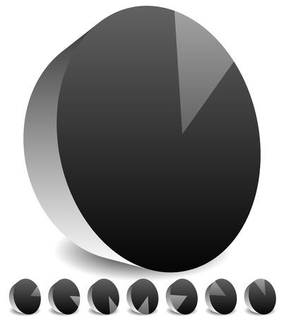 sonar: Rotazione schermo radar vuoto o la visualizzazione sonar. Cerchi segmentato con fette sottili.