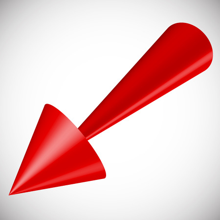 arow: Red 3d arrow render on white. Vector.