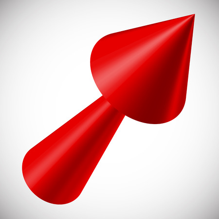 3 point perspective: Red 3d arrow render on white. Vector.