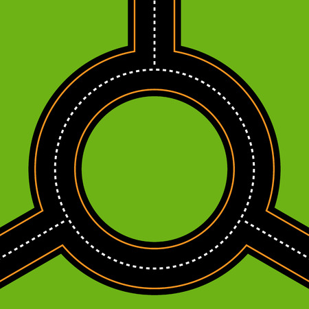 roundabout: Empty junction, roundabout, asphalt road vector