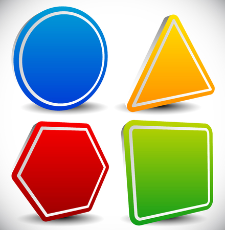 shape triangle: Set of blank shapes. Circle, triangle, octagon and square.