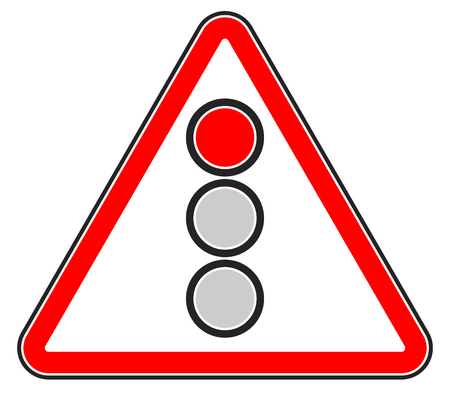 forewarn: Traffic light, semaphore on triangle road sign. Illustration
