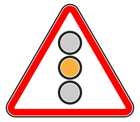 single entry: Traffic light, semaphore on triangle road sign. Illustration