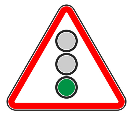forewarn: Traffic light, semaphore on triangle road sign. Illustration