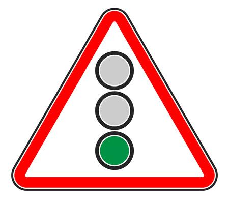 admittance: Traffic light, semaphore on triangle road sign. Illustration