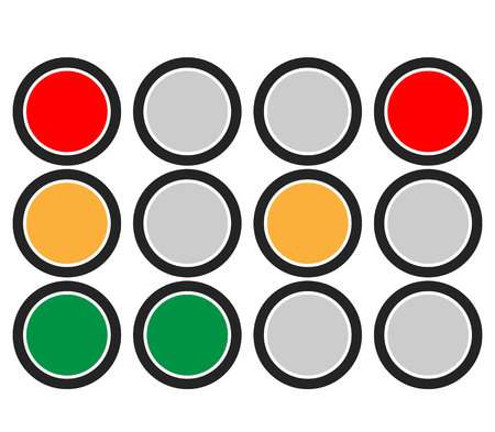 rules of road: Traffic Light  Traffic Lamp set. Vector Illustration.