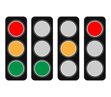 Traffic Light  Traffic Lamp set. Vector Illustration.