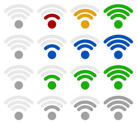 benchmark: Signal strength indicator template. ( wireless connection, antenna signal strength)