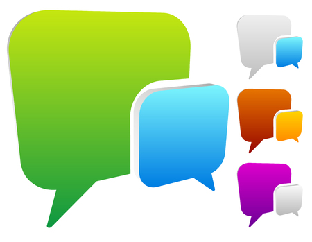 dialog baloon: 2 overlapping, squarish speech, talk bubbles for communication, chat, support concept Illustration