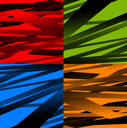 random: Set of 4 abstract background with random, distorted shapes.