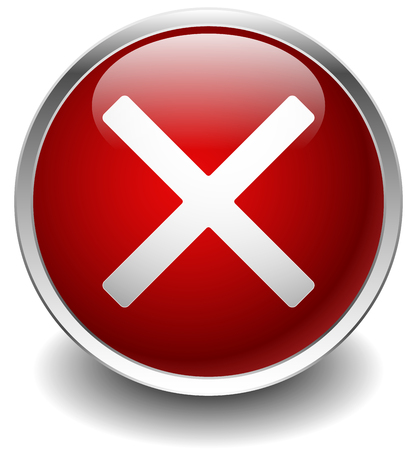 Glossy circle icon with white cross, X shape. Delete, remove, quit button.