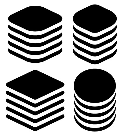 webhosting: Abstract tower, stack shapes. HDD, server symbols.