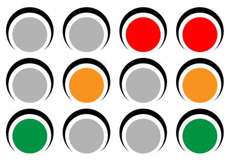 rules of road: Traffic lamps, traffic lights, semaphore vector illustration