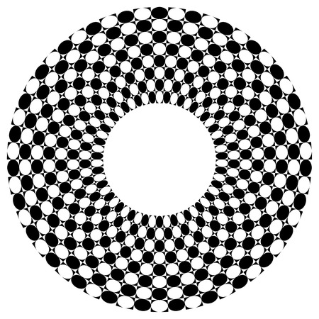 surrealistic: Checkered, chequered ring with square and circles fill. Vector art.