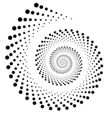 Abstract dotted volute, snail element on white. Vector art.