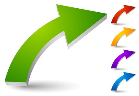 Curved 3d arrows. 5 colors in set. Çizim