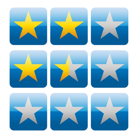 satisfied customer: Star rating graphics with 3 stars for review, rating, ranking concepts.