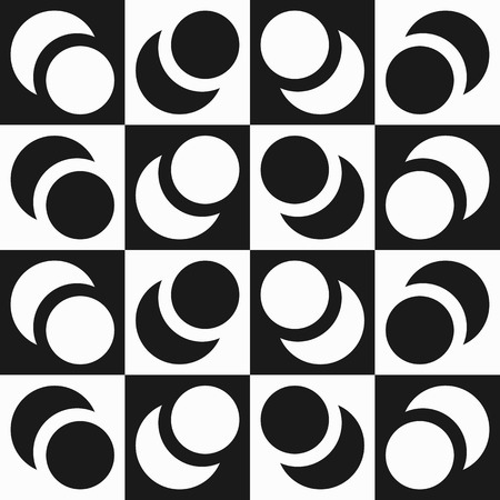 Repeatable contrasty pattern with alternating, intersecting circles and squares. Illustration