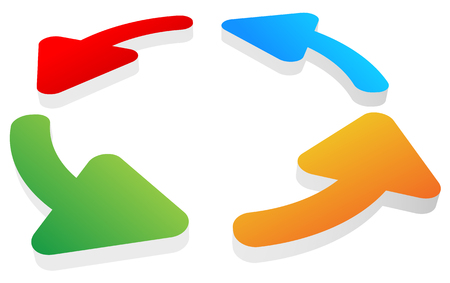recurrence: Circular, rotating arrows around on white. Colorful graphics.