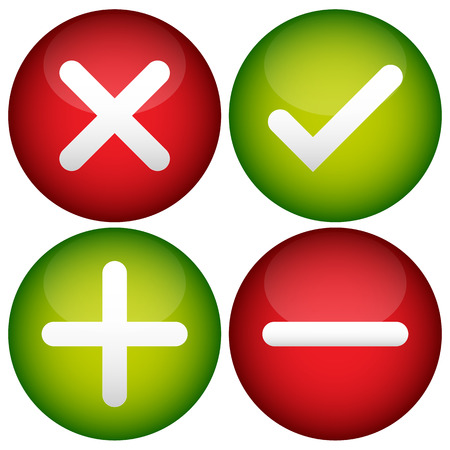 summation: Red cross, check mark, plus and minus signs, icons