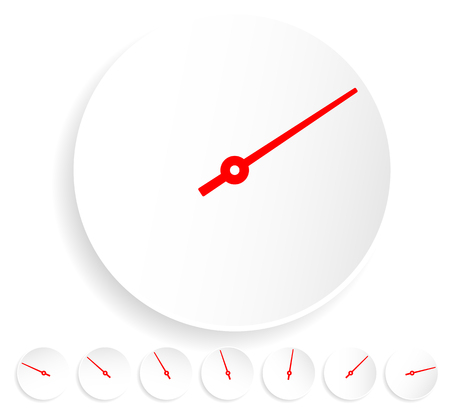metre: Dial, gauge with red needle on white Illustration