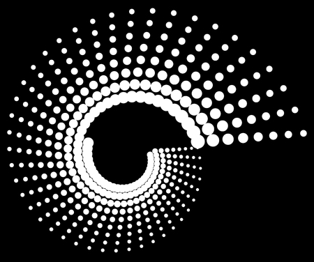 volute: Dotted volute, spiral on black. Vector art.
