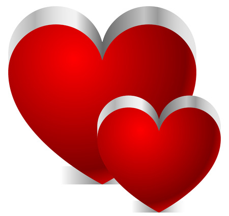 Two 3d hearts with shadow on white background