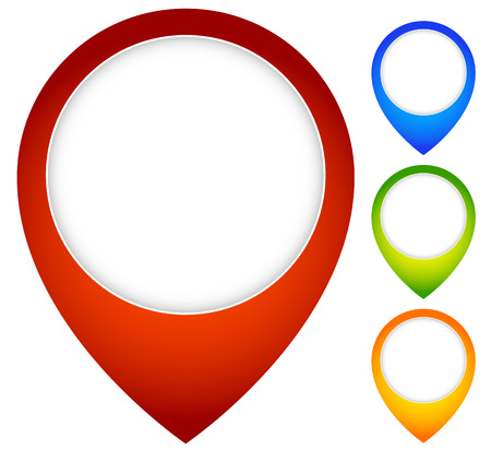 Map pin, map marker icons with blank space.