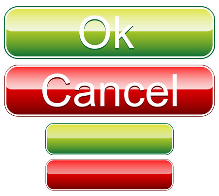 affirm: Ok, cancel buttons with blank versions. Vector. Illustration