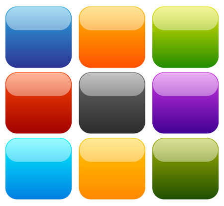 square button: 9 colorful empty squares with glossy effect