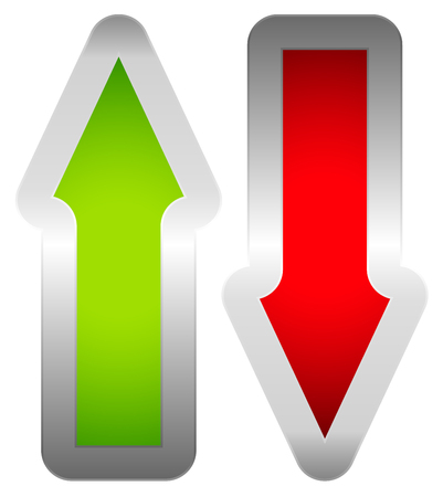 escalation: Green and red, up and down arrow. Vector.