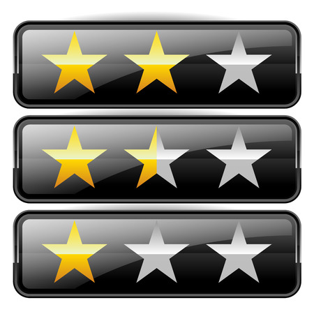 awful: Star rating graphics with 3 stars for review, rating, ranking concepts.