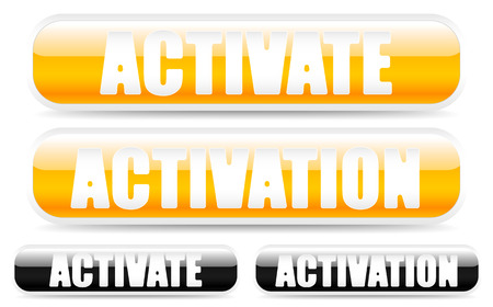 initiation: Buttons with the words activate, activation. Black version included.