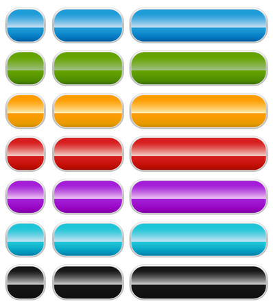 corner tab: Set of colorful banner or button backgrounds on white. Illustration