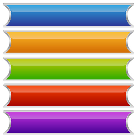 plaques: Set of colorful buttons, banners or plaques