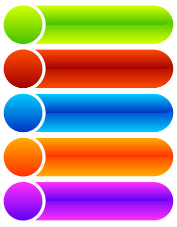 oblong: Set of oblong button, banner backgrounds in several colors. Illustration