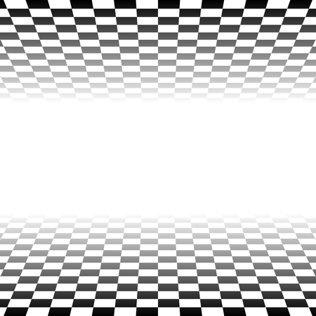 diminishing point: Checkered plane fading to transparent. Vector art. Illustration
