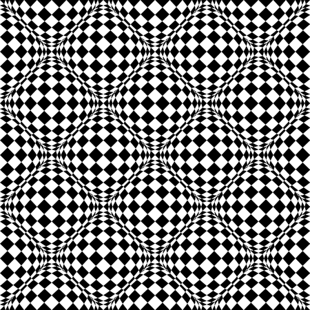 protuberant: Seamless pattern with bulging distortion on checkered surface. Vector art.