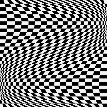 vertigo: Checkered, chequered pattern with wavy distortion. Vector art.