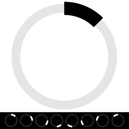 Transparent preloader or buffer shapes, symbols. Circular progress indicators. Illustration