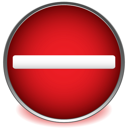 Red prohibition, restriction road sign vector on white.