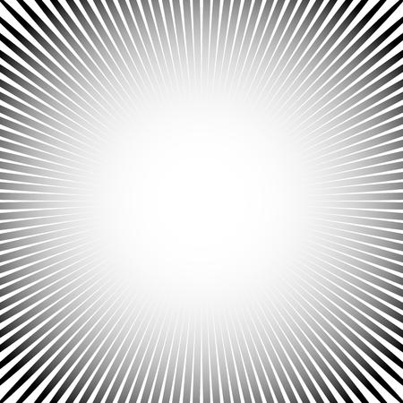 converging: Abstract starburst, sunburst graphic. Converging, radiating lines.