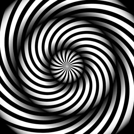 Spiral, vortex, swirl or twirl abstract monochrome graphic. Vector.