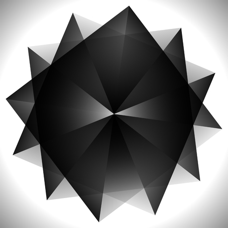 amorphous: Abstract spiral element with rotated shapes. Vector art.